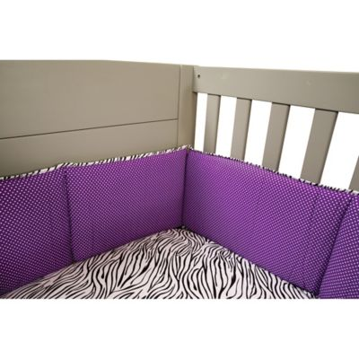 Purple and White Crib Bumper Nursery Bedding