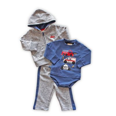 Planet Cotton Size 3M 3-Piece Emergency Vehicle Hoodie, Bodysuit, and Pant Set in Blue/Grey