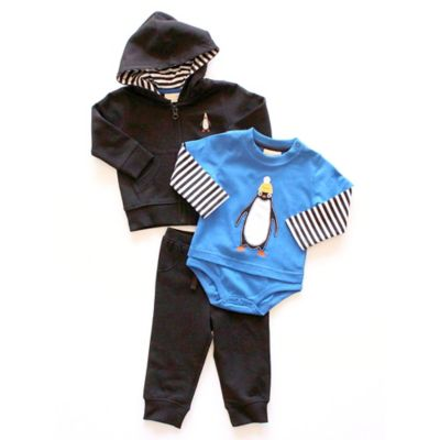 Planet Cotton Size 4T 3-Piece Penguin Hoodie, Bodysuit, and Pant Set in Black/Blue