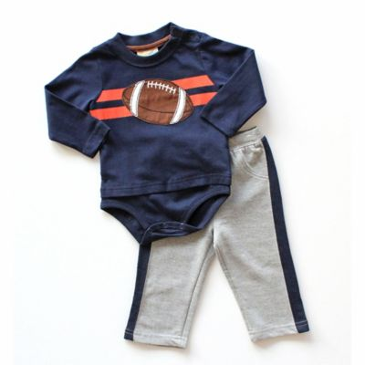 Planet Cotton Size 4T 2-Piece Football Long-Sleeve Bodysuit and Pant Set in Navy/Grey