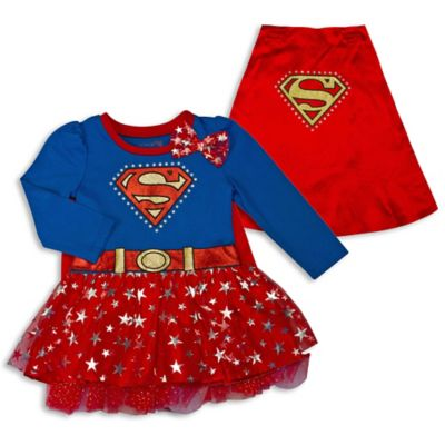 DC Comics™ Size 0-3M Supergirl Bodysuit Dress with Mesh Glitter Tutu Skirt