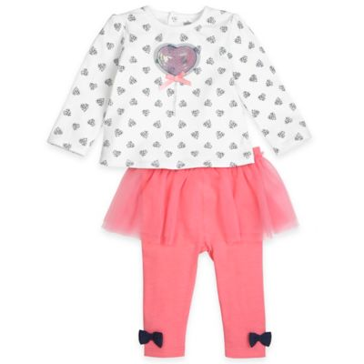 Petit Lem™ Playette Size 3M 2-Piece Loving Dots Long Sleeve Top and Tutu Legging Set