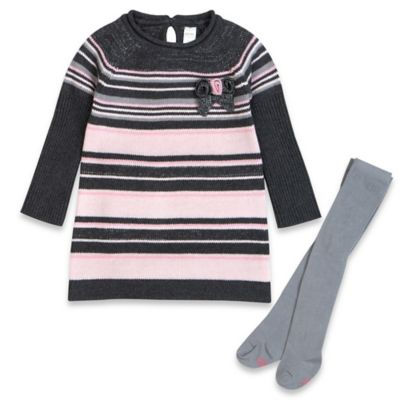 Petite Lem™ Playette Size 3M 2-Piece Secret Flowers Sweater Dress and Tight Set in Rose/Grey