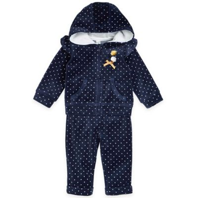 Petit Lem™ Playette Size 3M 2-Piece Loving Dots Hoodie and Pant Jogging Suit Set in Navy