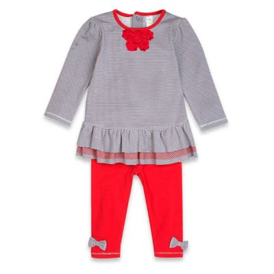 Petit Lem™ Playette Size 3M Holiday Flowers 2-Piece Dress and Legging Set in Grey/Red