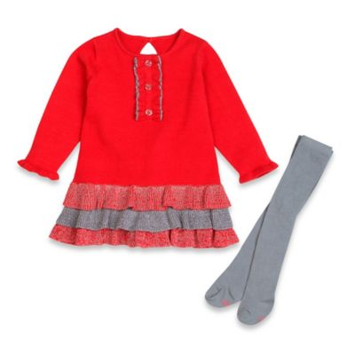 Petit Lem™ Playette Size 3M 2-Piece Holiday Flowers Sweater Dress and Tights Set