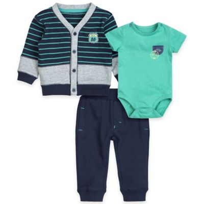 "Petit Lem™ Size 24M 3-Piece ""Route 66"" Cardigan, Bodysuit, and Pant Set in Navy/Green"