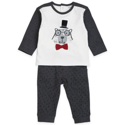 Petit Lem™ Size 3M 2-Piece Holiday Magic Top and Pant Set in Grey/White
