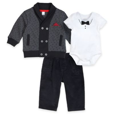 Petit Lem™ Size 3M 3-Piece Holiday Cardigan, Bodysuit, and Pant Set in Black/White
