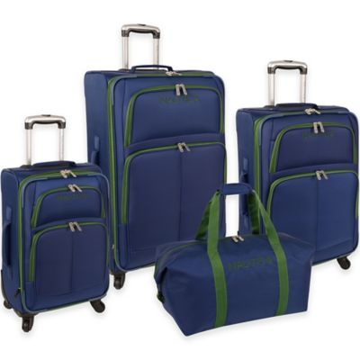 Nautica Bay Breeze 4-Piece Expandable Luggage Set in Blue/Green