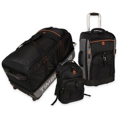 Timberland® Hampton Falls 3-Piece Luggage Set in Black/Orange