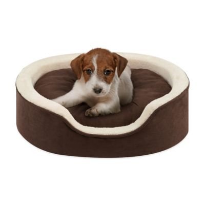 Soft Touch 14-Inch x 18-Inch Polyester Oval Cuddler Pet Bed in Tan