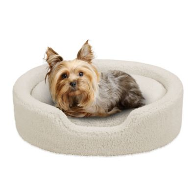 Soft Touch 21-Inch x 27-Inch Polyester Oval Cuddler Pet Bed in Ivory