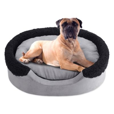 Soft Touch 14-Inch x 18-Inch Polyester Oval Cuddler Pet Bed in Blue/Ivory