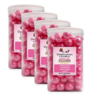 Celebration by Sweetworks® Shimmer™ Gumballs Party Jars in Pink (Set of 4)