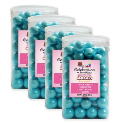 Celebration by Sweetworks® Shimmer™ Gumballs Party Jars in Blue (Set of 4)