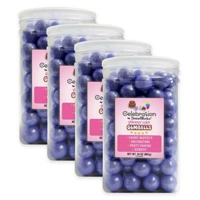 Celebration by Sweetworks® Shimmer™ Gumballs Party Jars in Lavender(Set of 4)
