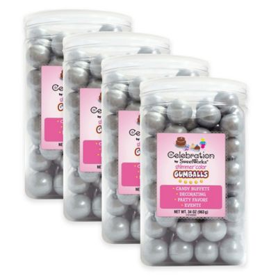 Celebration by Sweetworks® Shimmer™ Gumballs Party Jars in Silver(Set of 4)