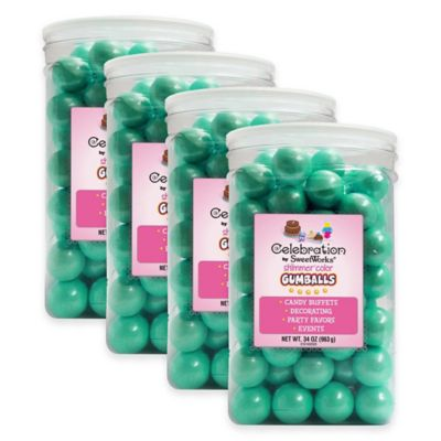 Celebration by Sweetworks® Shimmer™ Gumballs Party Jars in Turquoise (Set of 4)