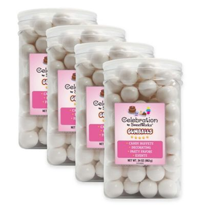 Celebration by Sweetworks® Gumballs Party Jars in White (Set of 4)