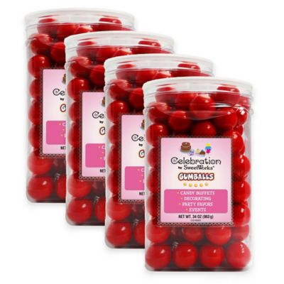 Celebration by Sweetworks® Gumballs Party Jars in Red (Set of 4)