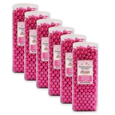 Celebration by Sweetworks® Shimmer™ Sixlets® Party Jars in Pink (Set of 6)