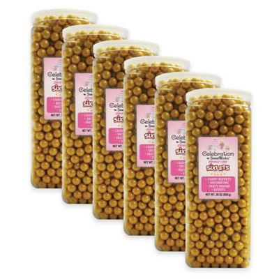 Celebration by Sweetworks® Shimmer™ Sixlets® Party Jars in Gold (Set of 6)
