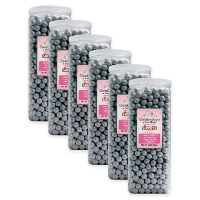 SweetWorks® Shimmer™ Sixlets® Party Jars in Silver