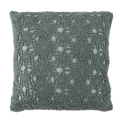 Beekman 1802 Fulton Crochet Square Throw Pillow in Lake