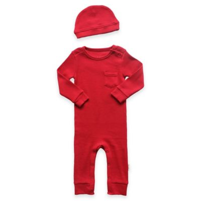 Newborn 2-Piece Cotton Thermal Coverall and Cap Set in Red