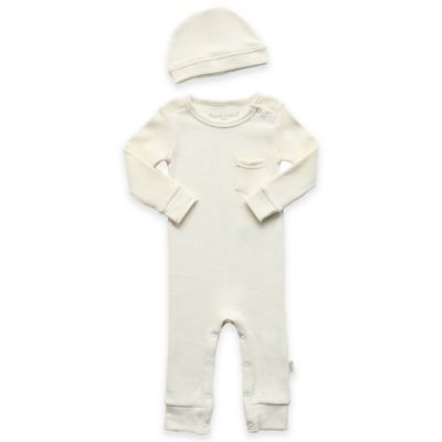 Newborn 2-Piece Cotton Thermal Coverall and Cap Set in Ivory