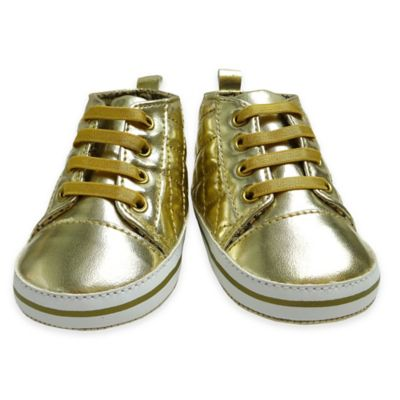 Rising Star Size 3-6M Metallic Quilted High-Top Sneaker in Gold