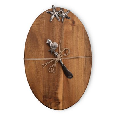Boston International Wood Cheese Board with Coastal Spreader