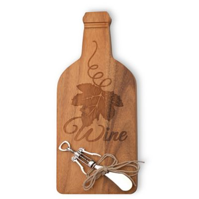 Boston International Bottle-Shaped Wood Cheese Board with Spreader