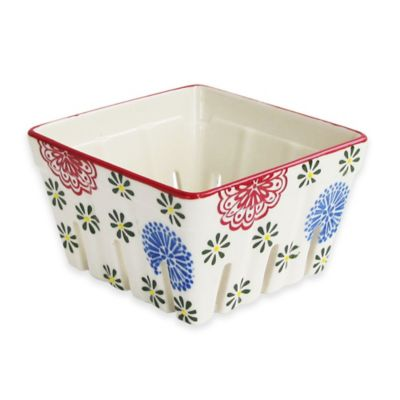 Floral Square Berry Basket in Red Multi