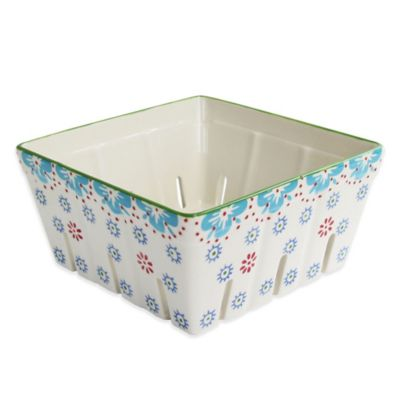 Floral Square Berry Basket in Blue Multi