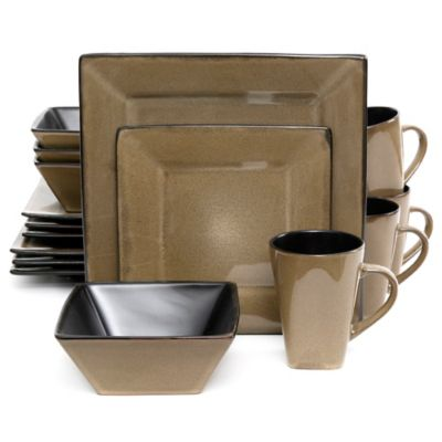 Gibson Overseas Kiesling 16-Piece Dinnerware Set in Taupe/Black