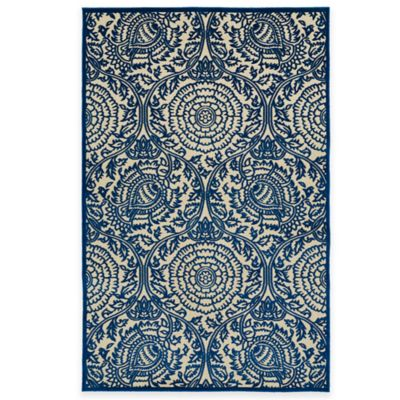 Kaleen Five Seasons Henna 3-Foot 10-Inch x 5-Foot 8-Inch Indoor/Outdoor Area Rug in Navy