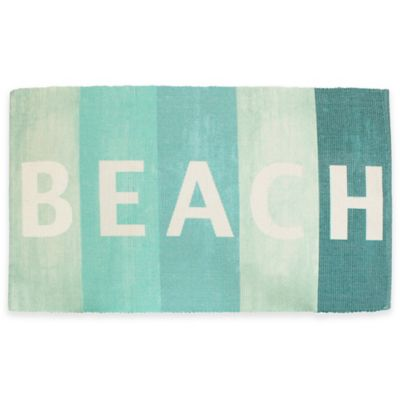 "Thro ""Beach"" Sign 2-Foot 3-Inch x 3-Foot x 9-Inch Rug in Blue"