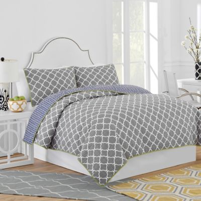 Jill Rosenwald Hampton Links Reversible Twin Quilt in Grey