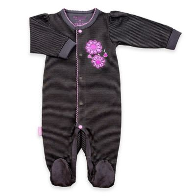 Kushies Blue Banana™ Newborn Petite Fashionista Snap-Front Footie Charcoal/Lilac
