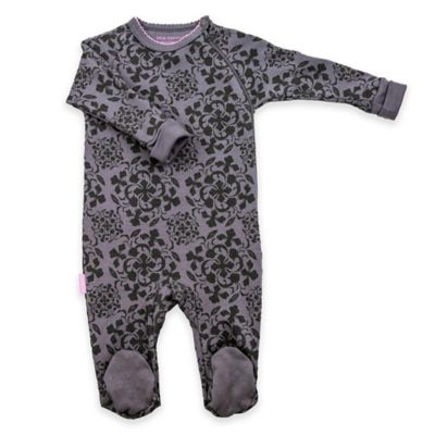 Kushies Blue Banana™ Newborn Petite Fashionista Side-Zip Damask Footie in Charcoal