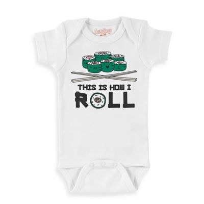 "Sara Kety® Size 6M ""This Is How I Roll"" Short Sleeve Bodysuit in White/Green"