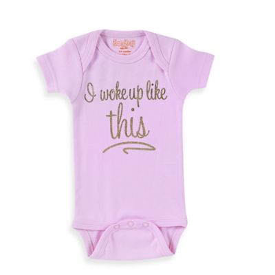 "Sara Kety® Size 6M ""I Woke Up Like This"" Short Sleeve Bodysuit in Pink/Gold"