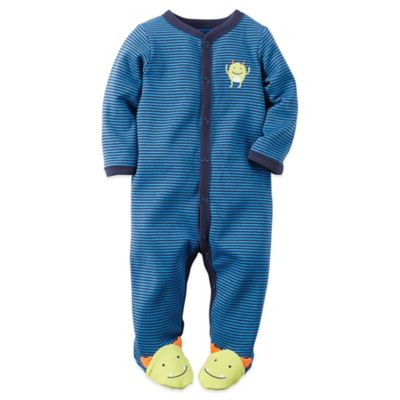 Carter's® Preemie Monster Zip-Front Footie in Blue Stripe/Yellow