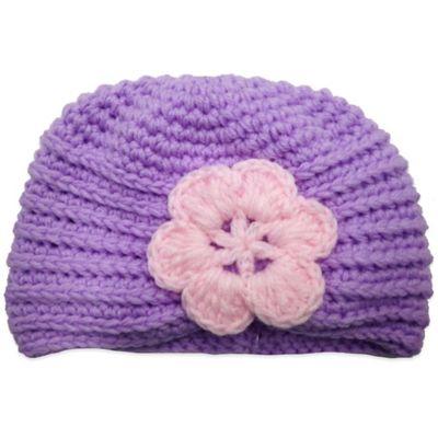 Size 0-6M Crochet Hat with Flower in Purple