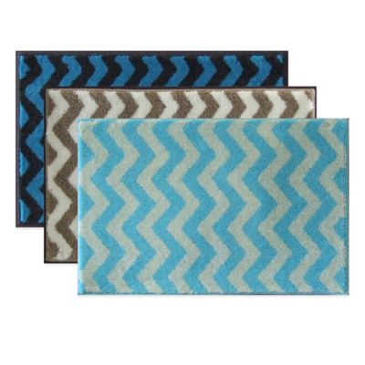 Grund® Chevron 1-Foot 9-Inch x 2-Foot 10-Inch Bath Rug in Dark Blue