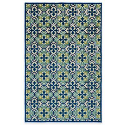Kaleen Five Seasons Tile 8-Foot 8-Inch x 12-Foot Indoor/Outdoor Area Rug in Blue
