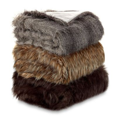 Faux Fur Wolf Throw Blanket in Black