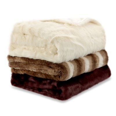 Basic Fur Throw in Burgundy